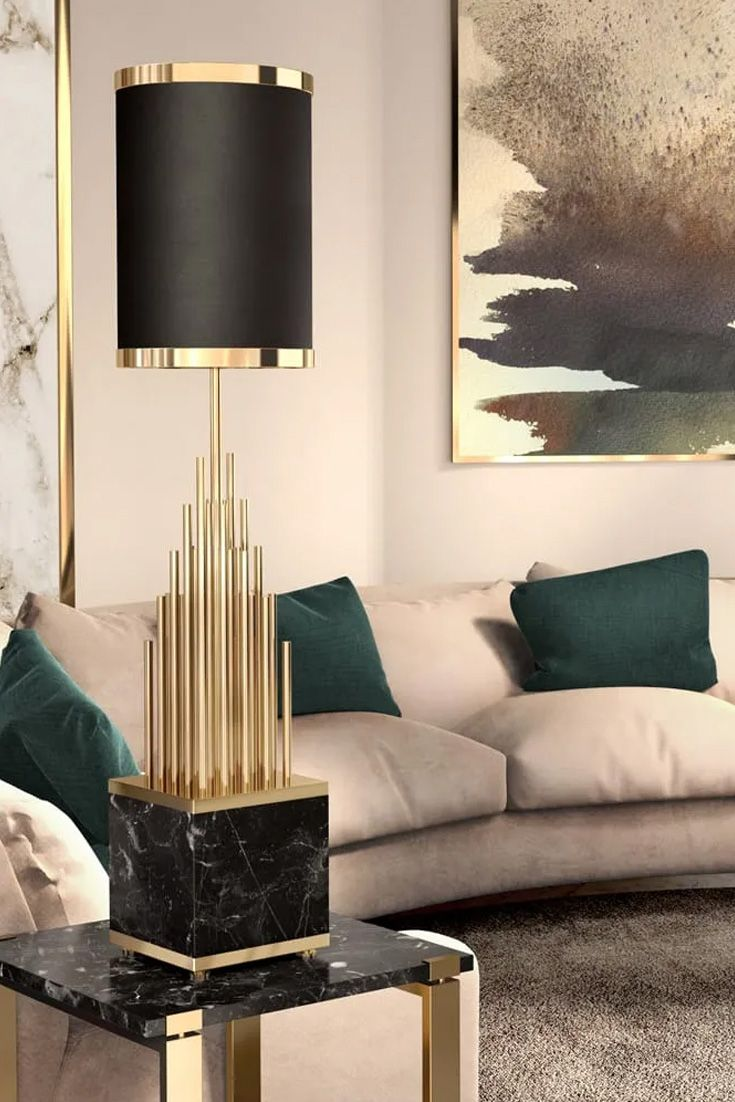 Large Designer Black And Gold Marble Table Lamp Juliettes Interiors Black And Gold Marble Lamps Living Room Luxury Table