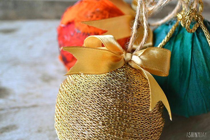 Glamorous ornaments : Sari Silk & gold ribbon