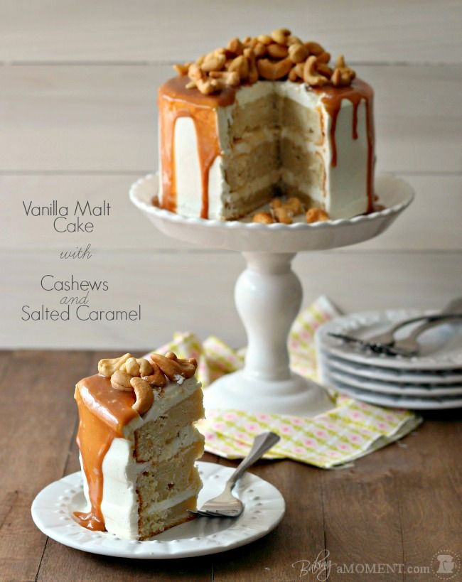 Vanilla Malt Cake with Cashews and Salted Caramel