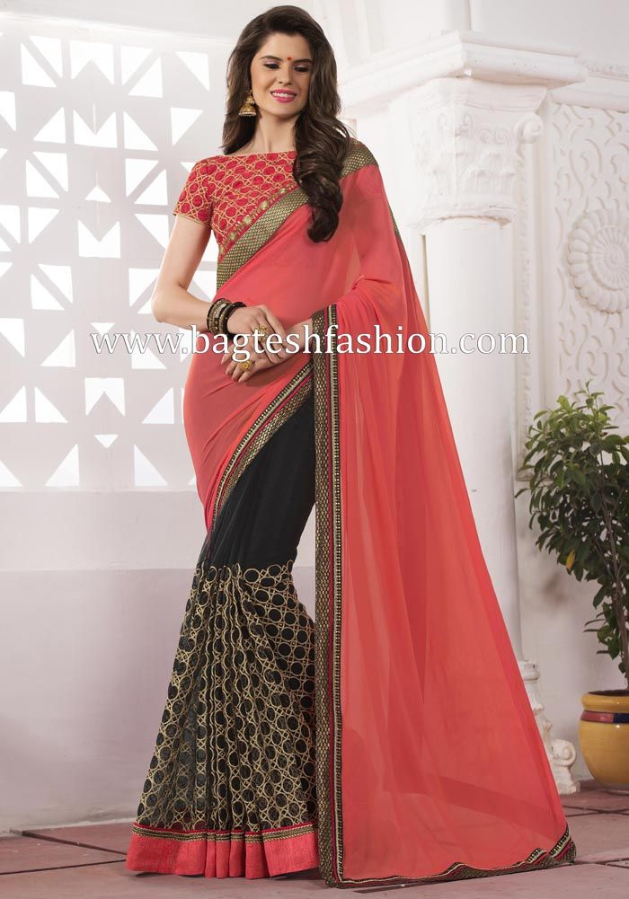 Exclusive Peach And Black Georgette And Net Sari