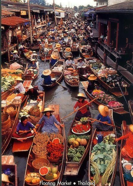 A floating market is a market where goods are sold from boats. Originating in times and places where water transport played an important role in daily life, most floating markets operating today mainly serve as tourist attractions, and are chiefly found in Thailand, Indonesia and Vietnam.  Damnoen Saduak Floating Market is a notable floating market in Ratchaburi, Thailand.