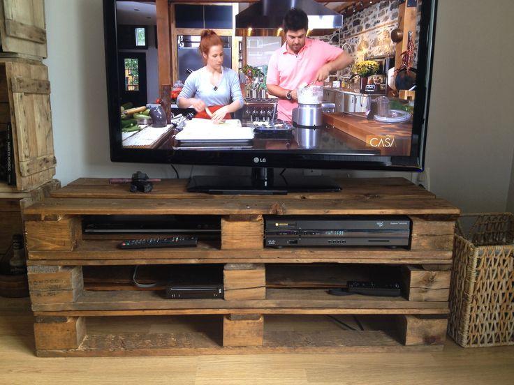 Meuble t l en palette pallet tv diy diy maison for Diy pallet tv stand instructions