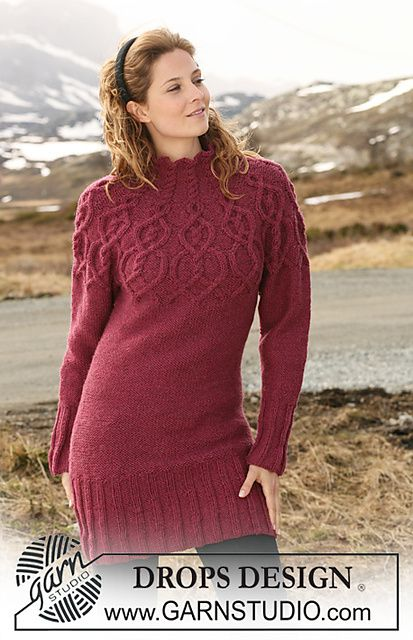 Free Pattern: 117-13 Tunic with raglan sleeves and cable pattern on yoke