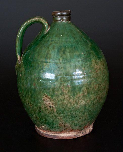 Rare Green-Glazed Redware Jug, Bristol County, MA origin, early 19th century