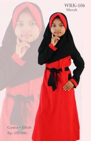 Baju Gamis Anak Perempuan WRK-106 Merah