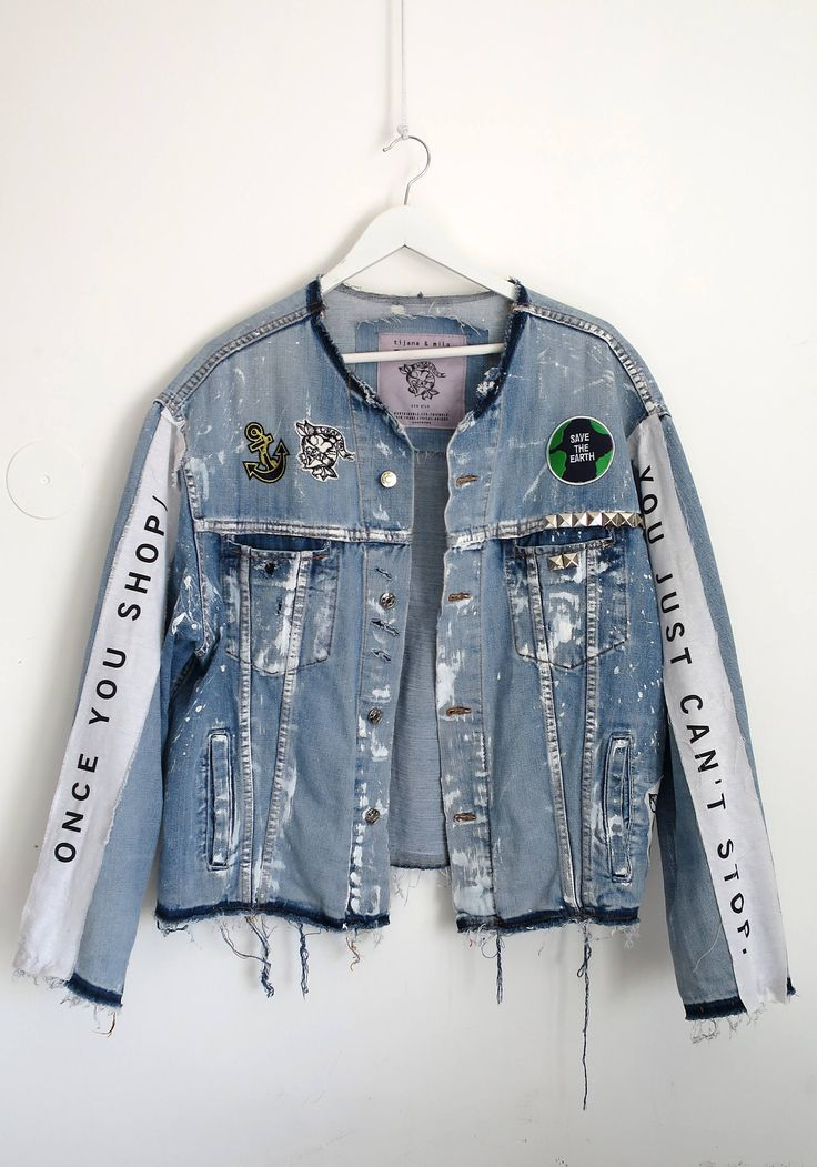 Designer unique male oversizes ripped denim jacket (L size) with patches, applications and print by tijanaandmilapopovic on Etsy