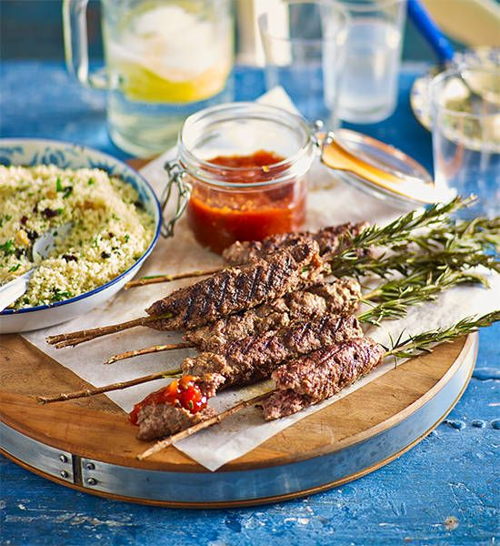 Beef and rosemary skewers with couscous salad: Using the rosemary sprigs as skewers means this dish wins in the presentation and taste stakes.