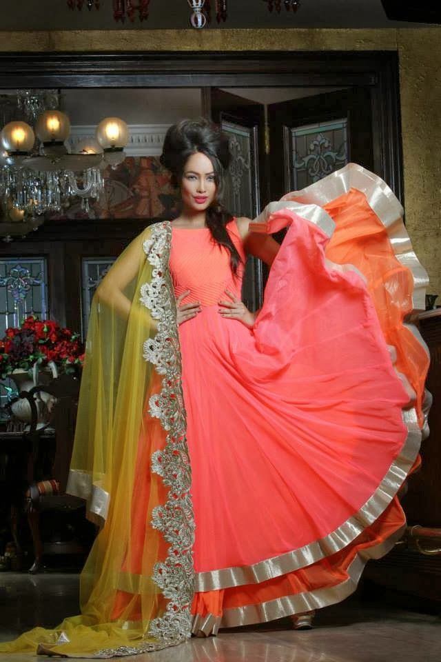 Peach anarkali by Pooja Rajpal Jaggi.. Love the undertone orange and the yellow dupatta