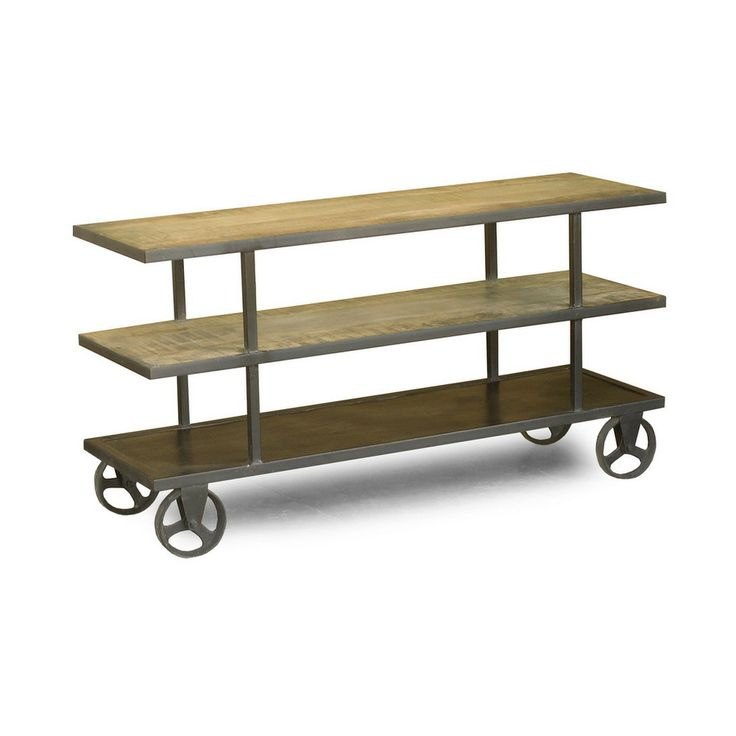 Perfect For Adding Storage To Your Living Space, This Handcrafted Rough  Sawn Mango Wood Media Console Features Hand Forged Iron Accents And Wheels  For Easy ...