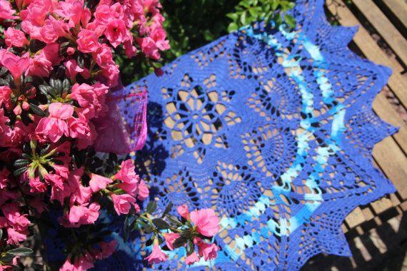 Navy-blue crochet doily