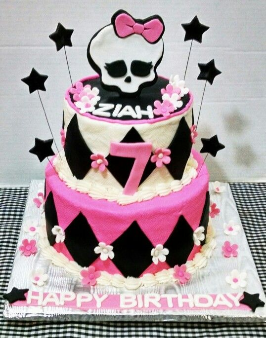 Monster High Two Tier Birthday Cake with Custom Topper and Fonant Accents