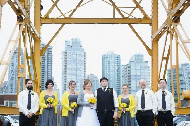 wedding at FCYC | wedding party and Vancouver cityscape from Granville Island