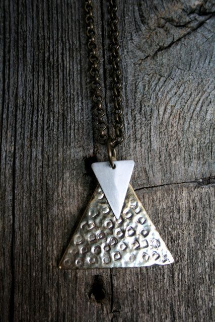 Hammered Brass and Brushed Silver Triangle Necklace by RambleRove