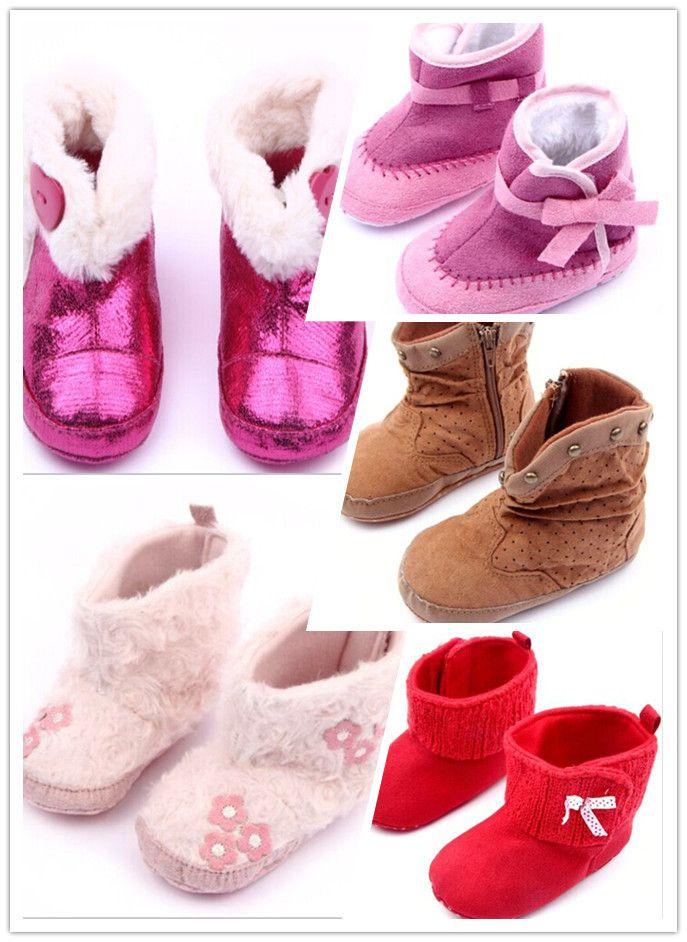 0 - 12 м ребенок мальчик девочки зима теплая замша / кожа / плюшевые коралловый / флис мягкая SoleToddler сапоги обувь