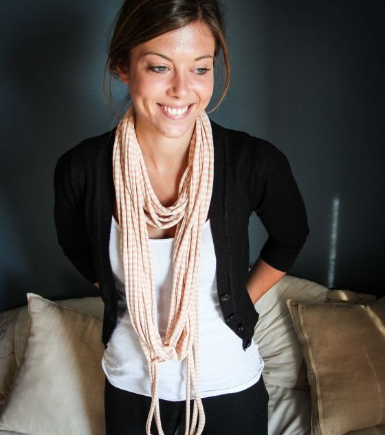 Stunning watermelon and cream T-Shirt Necklace / Scarf. Can be worn in at least 5 different ways. Shop @ www.wave2africa.com