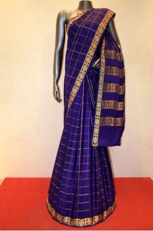 Traditional Zari Checks Pure Mysore Crepe Silk Saree Product Code :AC205068