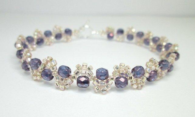 Peach and violet lustre beaded bracelet £10.00