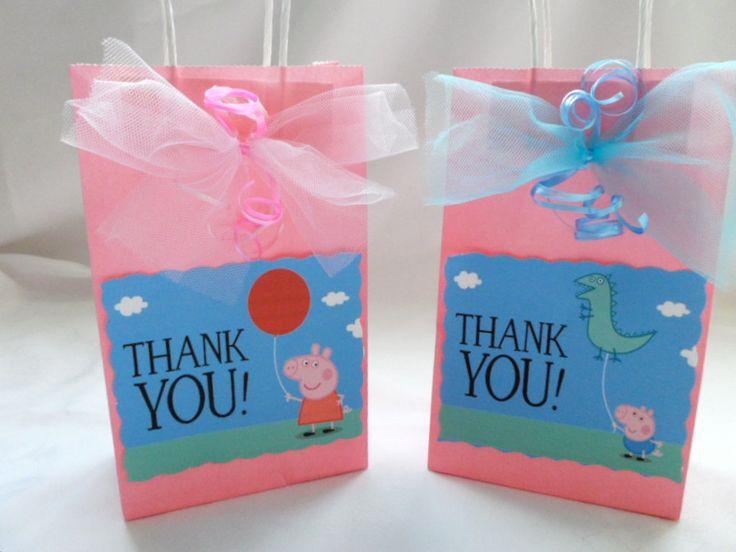 6 Peppa pig Inspired Party Favors goodie bag Peppa by FluidYard