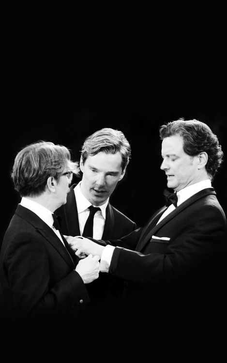 This pic is everything!!!    Gary Oldman, Benedict Cumberbatch and Colin Firth. Tinker,Tailor, Soldier, Spy. 2012