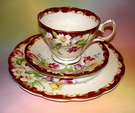 vintage Bell fine bone china tea cup Saucer side plate TRIO Narcissus red rare