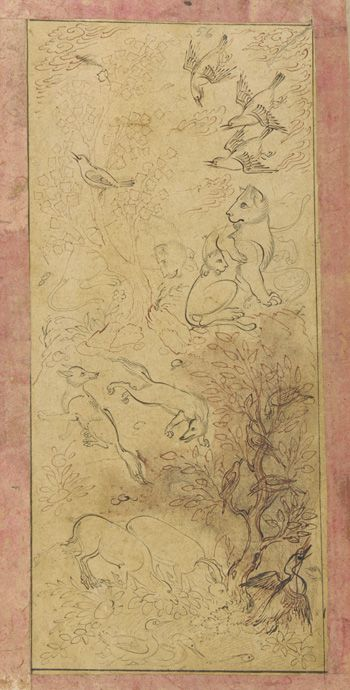 Landscape with animals 1630s-1640s Safavid period Ink on paper H: 18.4 W: 8.3 cm Probably Isfahan, Iran Purchase F1953.35 Freer-Sackler | The Smithsonian's Museums of Asian Art