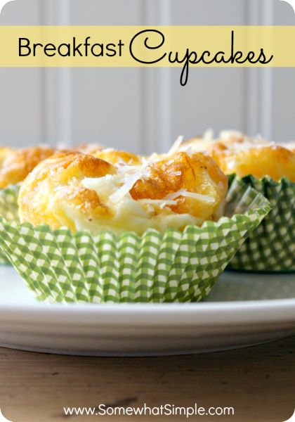 Eggs, sausage and cheese- what's not to love about these breakfast cupcakes?
