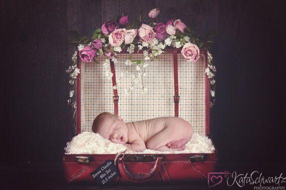 Vintage suitcase digital backdrop for newborn baby by Katasdigital