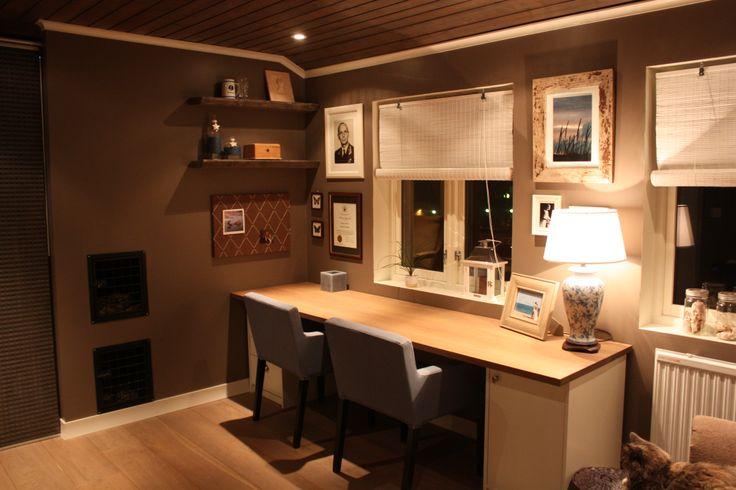 Desk made from oak countertop. Home office. Hjemmekontor. Built-in dog beds.