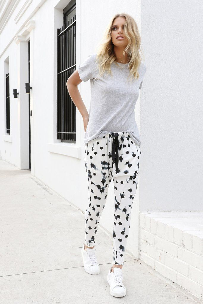 Black and White drop crotch pants from Madison Square.