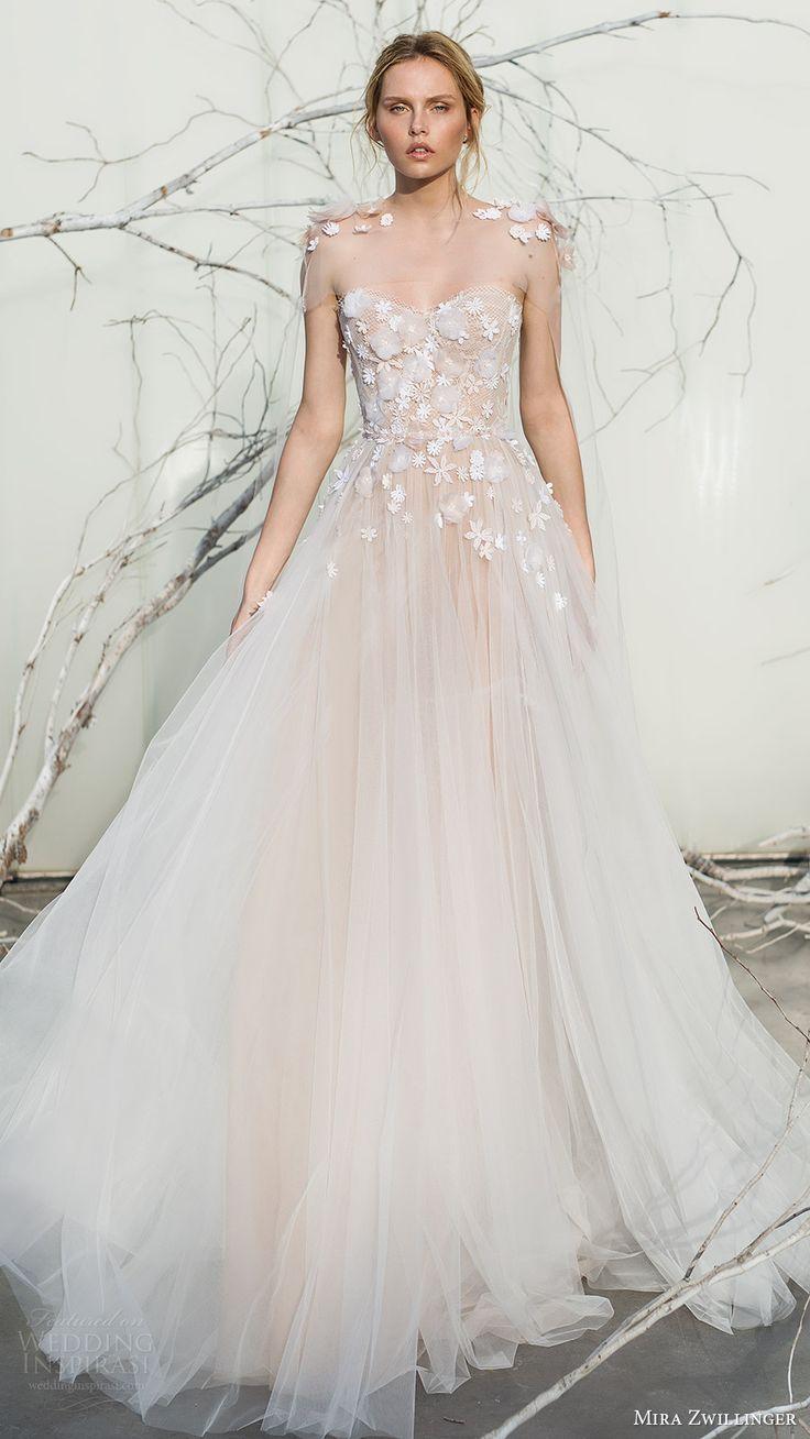 mira zwillinger bridal 2017 strapless sweetheart ball gown wedding dress (elsa) sheer cape mv