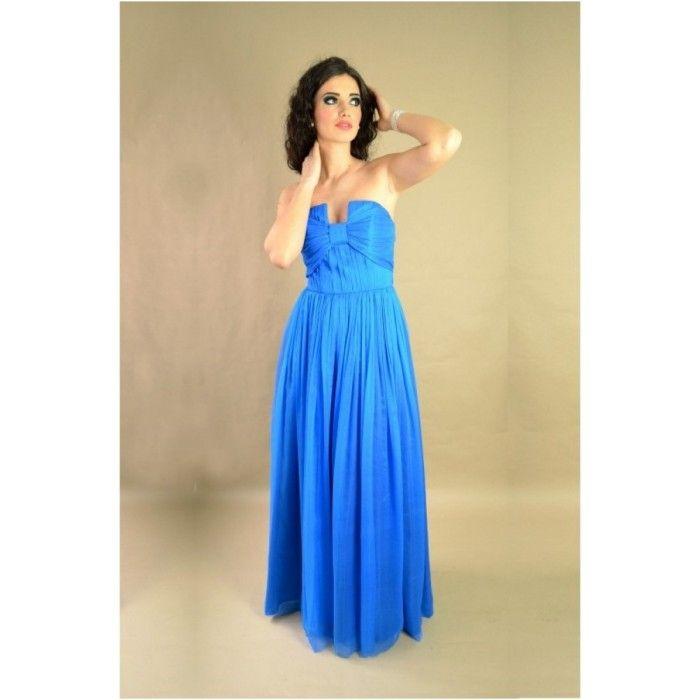 Rochie albastra, lunga din matase naturala   http://iuniq.ro/rochie-albastra-lunga-din-matase-naturala