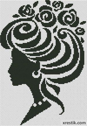 Devushka----9-300 Схема для вышивки scheme for cross stitch