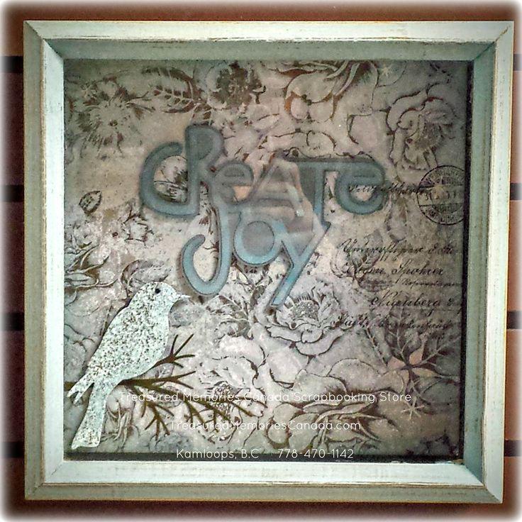 Create Joy Shadow Box Home Decor Scrapbook project Treasured Memories Canada Scrapbook Store TreasuredMemoriesCanada.com