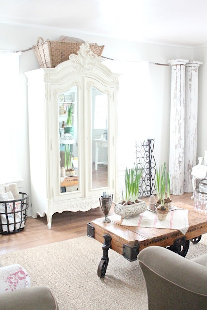 Beautiful white room with the Estate Cart Table.