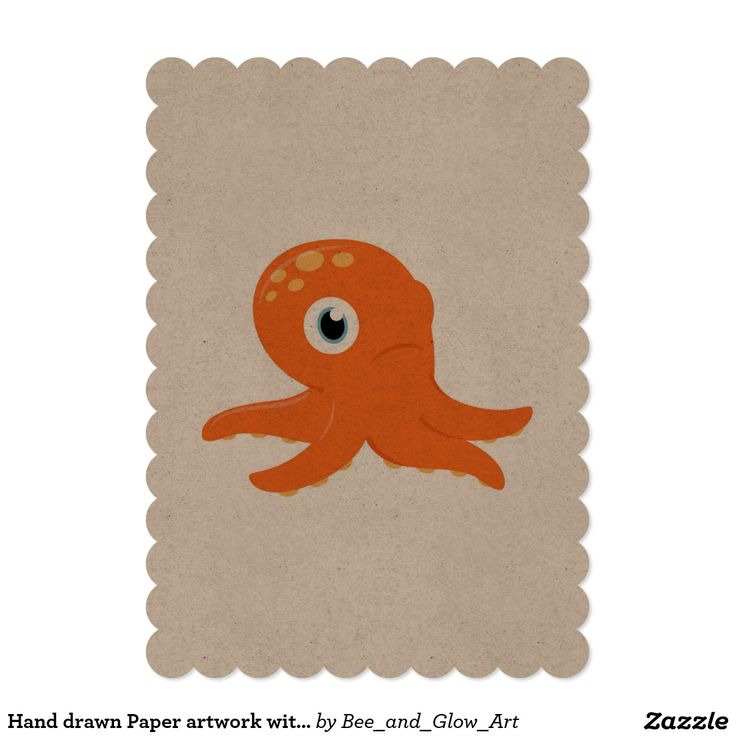 Hand drawn Paper artwork with Octopus