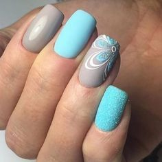 Grey & Teal with flower design