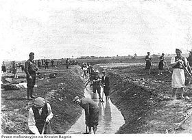 Krychów forced labour camp, 1940. Prisoners building irrigation ditches for the new German latifundia of Generalplan Ost. Most were sent to Sobibor extermination camp afterwards.