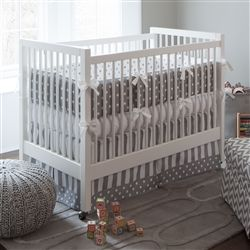 Gray and White Dots and Stripes Crib Skirt Box Pleat