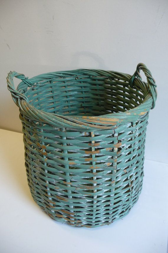 Vintage basket Large wicker wood with handles Sage green Shabby Chic French Country