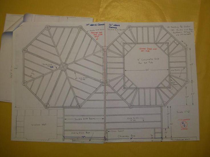 Decking patterns framing design for double octagon deck for Octagon deck plans