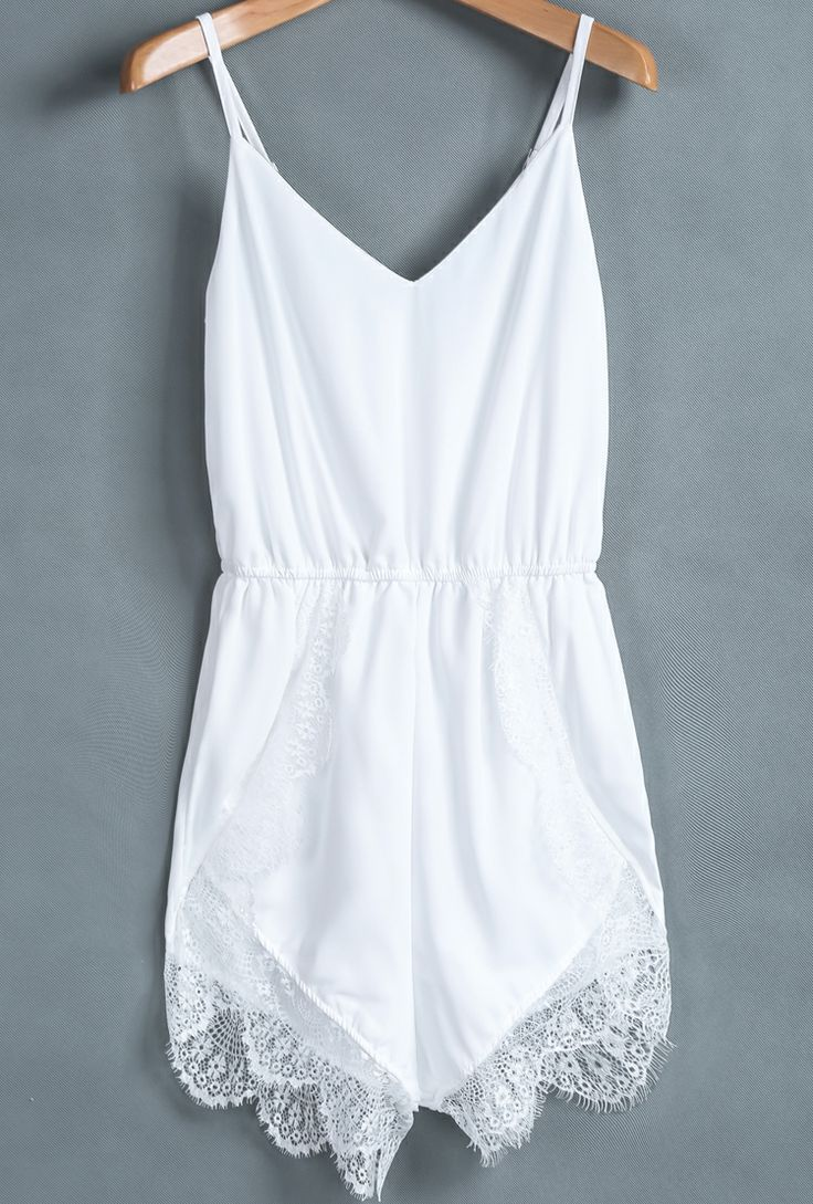 Adorable thin strap white lacy mini dress find more women fashion ideas on www.misspool.com