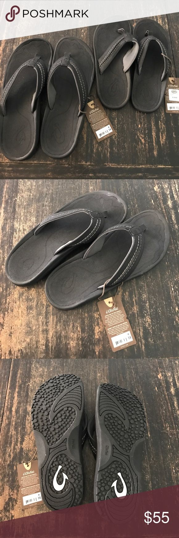 Men's OluKai Sandals Men's black Hokua sandals. New, never worn. OluKai Shoes Sandals & Flip-Flops