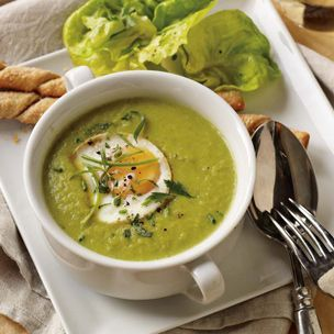 Asparagus Soup with Poached Eggs--from Williams-Sonoma--doesn't this sound wonderful for Easter brunch???