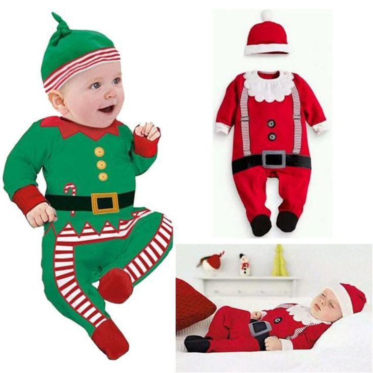 Gratis Verzending baby rompertjes Jongen Meisje Kids Romper Hoed Cap Set kerstman baby kostuum Kerstcadeau pasgeboren beste liefde