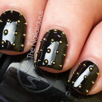 Black gelish nails with gold studs