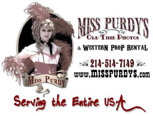 Miss Purdy – Owner & Operator of Miss Purdy's Old Time Photos & Western Prop Rental in Yorba Linda CA with complete mobile service to the entire USA for Western theme and Great Gatsby Gangster themed events!  www.misspurdys.com