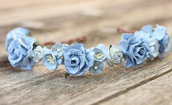 Light Blue Flower Crown Headband  Wedding HeadPiece Girls