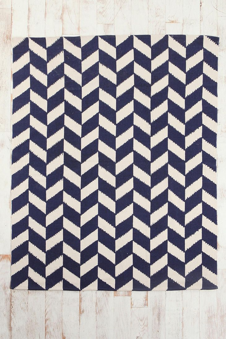 Navy and White Herringbone patterned rug.  Would be a nice way to jazz up the future office.  Hopefully on top of some wood floors.