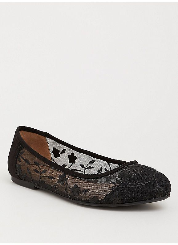 Black Embroidered Mesh Flat (Wide Width