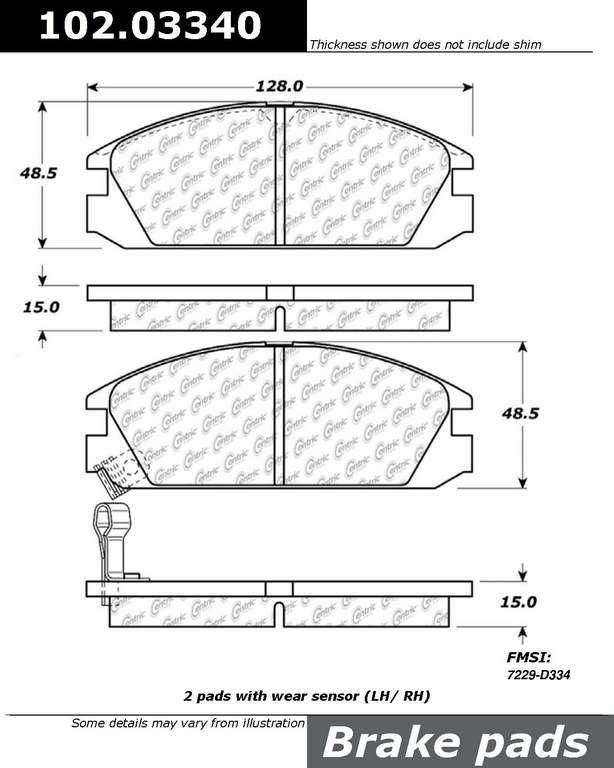 Brand:Centric Part Number:102.03340 Category:Brake Pad  Price : $10.65 2Years Warranty,lowest Prices On Acura Brake pads